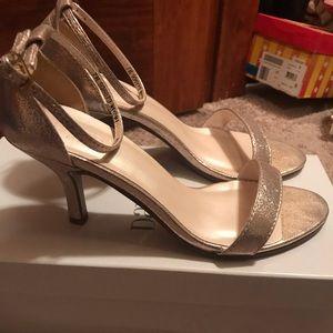 David's Bridal Gold Heels